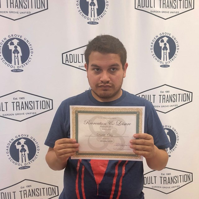 David Cruz is the recipient of the Recreation and Leisure award for October 2019